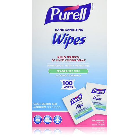Purell Sanitizing Hand Wipes Individually Wrapped 100/box - Health & Safety