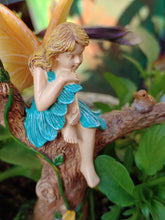 Load image into Gallery viewer, Fairy girl in blue dress sitting on a branch talking to bird | sitting pretty | MG370
