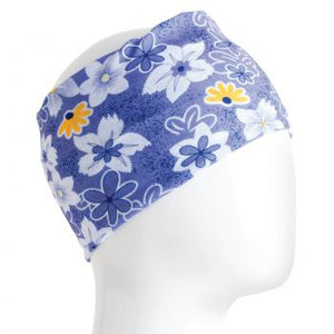 A WHITE MANNEQUIN HEAD IS WEARING A, 9.5 INCHES WIDE BY 19 INCHES LONG, STRETCHABLE INFINITY SCARF. THIS ONE IS A SMALL BLUE, YELLOW, AND WHITE FLOWERS ON A DENIM-COLORED BACKGROUND MOTIF.