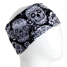 Load image into Gallery viewer, A WHITE MANNEQUIN HEAD IS WEARING A, 9.5 INCHES WIDE BY 19 INCHES LONG, STRETCHABLE INFINITY SCARF. THIS ONE IS A WHITE SKULLS ON A BLACK BACKGROUND MOTIF.