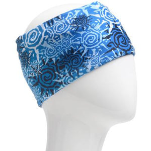 A WHITE MANNEQUIN HEAD IS WEARING A, 9.5 INCHES WIDE BY 19 INCHES LONG, STRETCHABLE INFINITY SCARF. THIS ONE IS A LIGHT BLUE AND WHITE SPIRAL SUNS ON A BLUE BACKGROUND MOTIF.