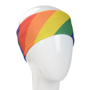 A WHITE MANNEQUIN HEAD IS WEARING A, 9.5 INCHES WIDE BY 19 INCHES LONG, STRETCHABLE INFINITY SCARF. THIS ONE IS A COLORFUL DIAGONAL RAINBOW MOTIF WITH COLORS RUNNING: LEFT TO RIGHT RED, ORANGE, YELLOW, GREEN.