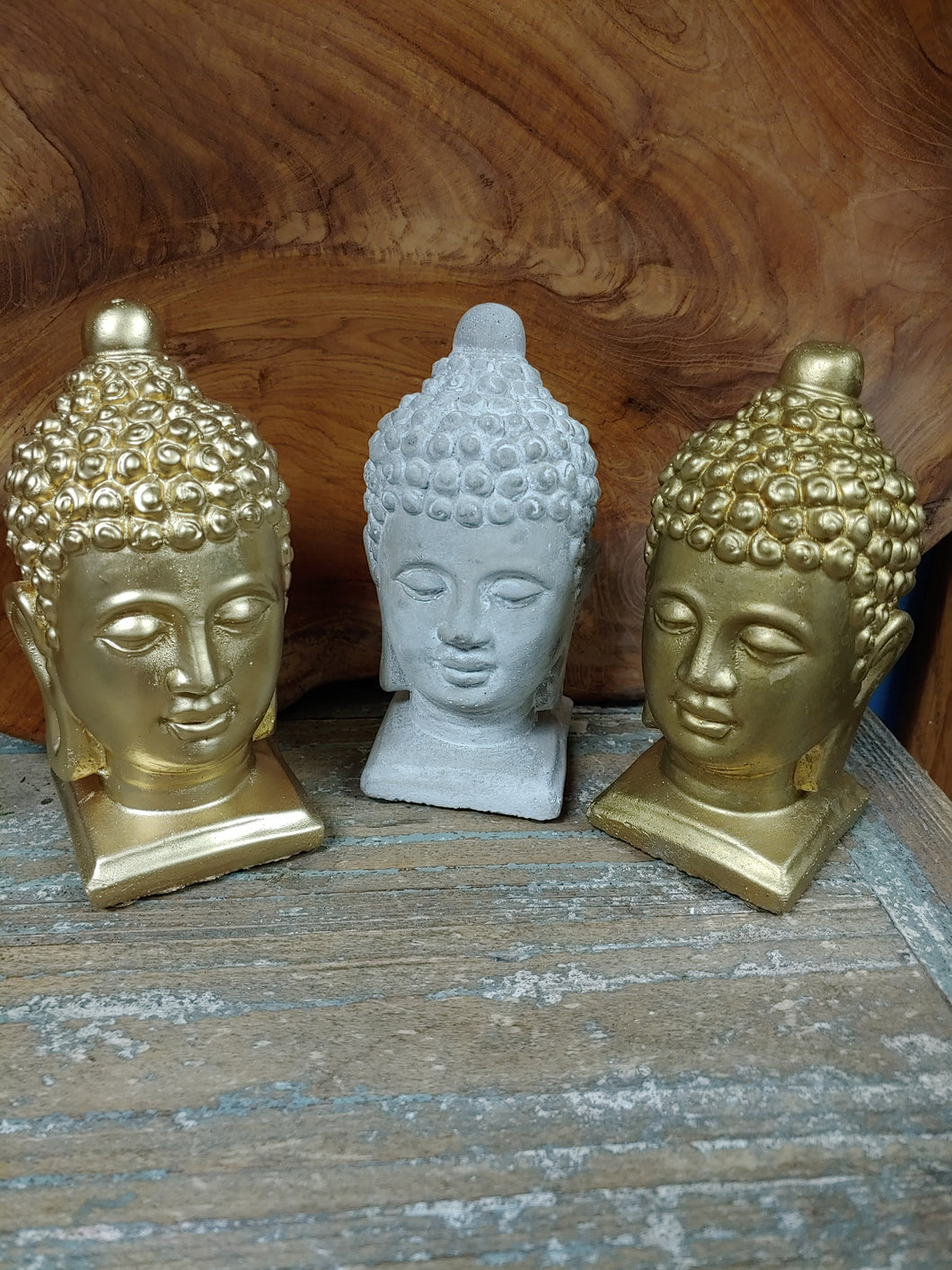 3 SMALL, SOLID CONCRETE BUDDHA HEADS | GREAT DÉCOR ACCENT PIECES. 2 COLORS: GREY AND GOLD.