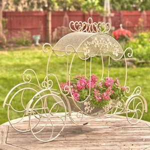 Cinderella Carriage | Rebecca | Available in white or antique bronze | Wedding | Planter | Metal