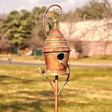"Load image into Gallery viewer, Copy of Copper Vintage house on stake Bird House - Mary - Yard Art - 70"" tall"