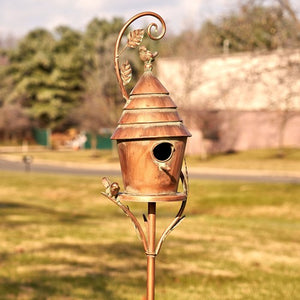 "Copy of Copper Vintage house on stake Bird House - Mary - Yard Art - 70"" tall"