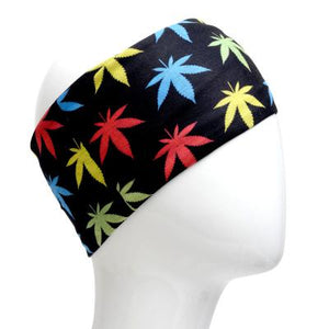 A WHITE MANNEQUIN HEAD IS WEARING A, 9.5 INCHES WIDE BY 19 INCHES LONG, STRETCHABLE INFINITY SCARF. THIS ONE IS A COLORFUL POT LEAVES ON A BLACK BACKGROUND MOTIF.