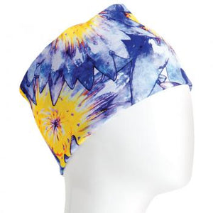 A WHITE MANNEQUIN HEAD IS WEARING A, 9.5 INCHES WIDE BY 19 INCHES LONG, STRETCHABLE INFINITY SCARF. THIS ONE IS A BLUE AND YELLOW FLOWERS MOTIF.