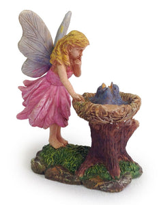 Little girl fairy found a bluebird nest full of babies birds | Miniatures MG64