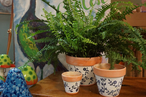 Terra Cotta planters 3 sizes  painted white with navy flowers