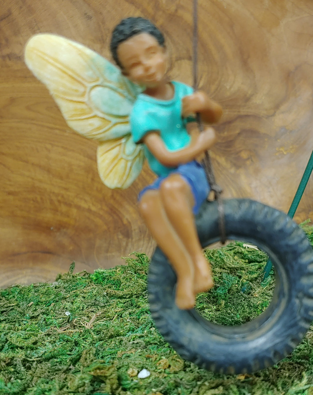 Fairy Garden  - Boy in a fun Tire Swing  - MG254