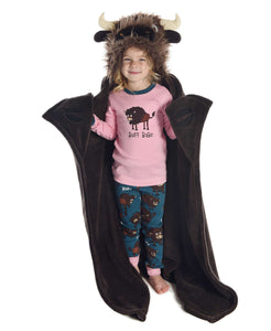 Children's Buffalo Hooded Blanket | Buffalo Critter | Brown | LazyOne | Camping | Sleepover