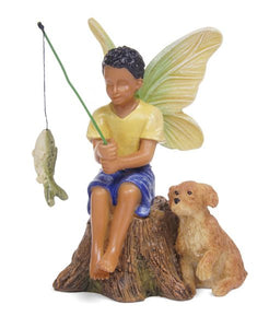 Fairy Garden | boy fishing | fairy sitting with his dog and catching dinner - Miniature | NEW 2020