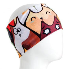 Load image into Gallery viewer, A WHITE MANNEQUIN HEAD IS WEARING A, 9.5 INCHES WIDE BY 19 INCHES LONG, STRETCHABLE INFINITY SCARF. THIS ONE IS A CARTOON CATS MOTIF.