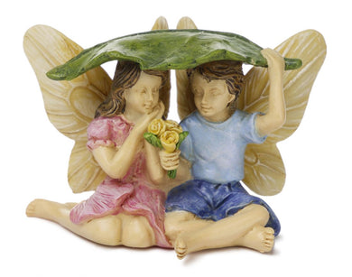 Caught in the Rain | Brother & Sister Fairies Taking Cover | MG275 | Fairy Garden