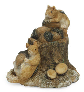 These little chipmunks have had a Busy Day collecting acorns | Miniature Fairy Garden accessories | MG132