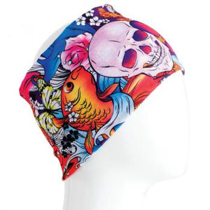 A WHITE MANNEQUIN HEAD IS WEARING A, 9.5 INCHES WIDE BY 19 INCHES LONG, STRETCHABLE INFINITY SCARF. THIS ONE IS A COLORFUL SKULLS AND FISH MOTIF.
