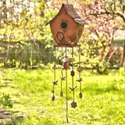 New Hanging Bird House With Wind Chimes