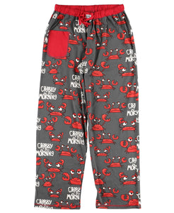 PJ PANTS, SHOWING THE FRONT SIDE: RED, UPSET-LOOKING CRABS, BLACK BACKGROUND, AND WHITE WORDS 'CRABBY IN THE MORNING'. THERE IS A RED CELL PHONE POCKET ON THE RIGHT HIP AND A DRAWSTRING IN A RED ELASTIC BAND AT THE WAIST. THIS IS PRESHRUNK, NO FADE PEINT MATERIAL, AND COMES IN 5 SIZES XS, S, M, L, XL.