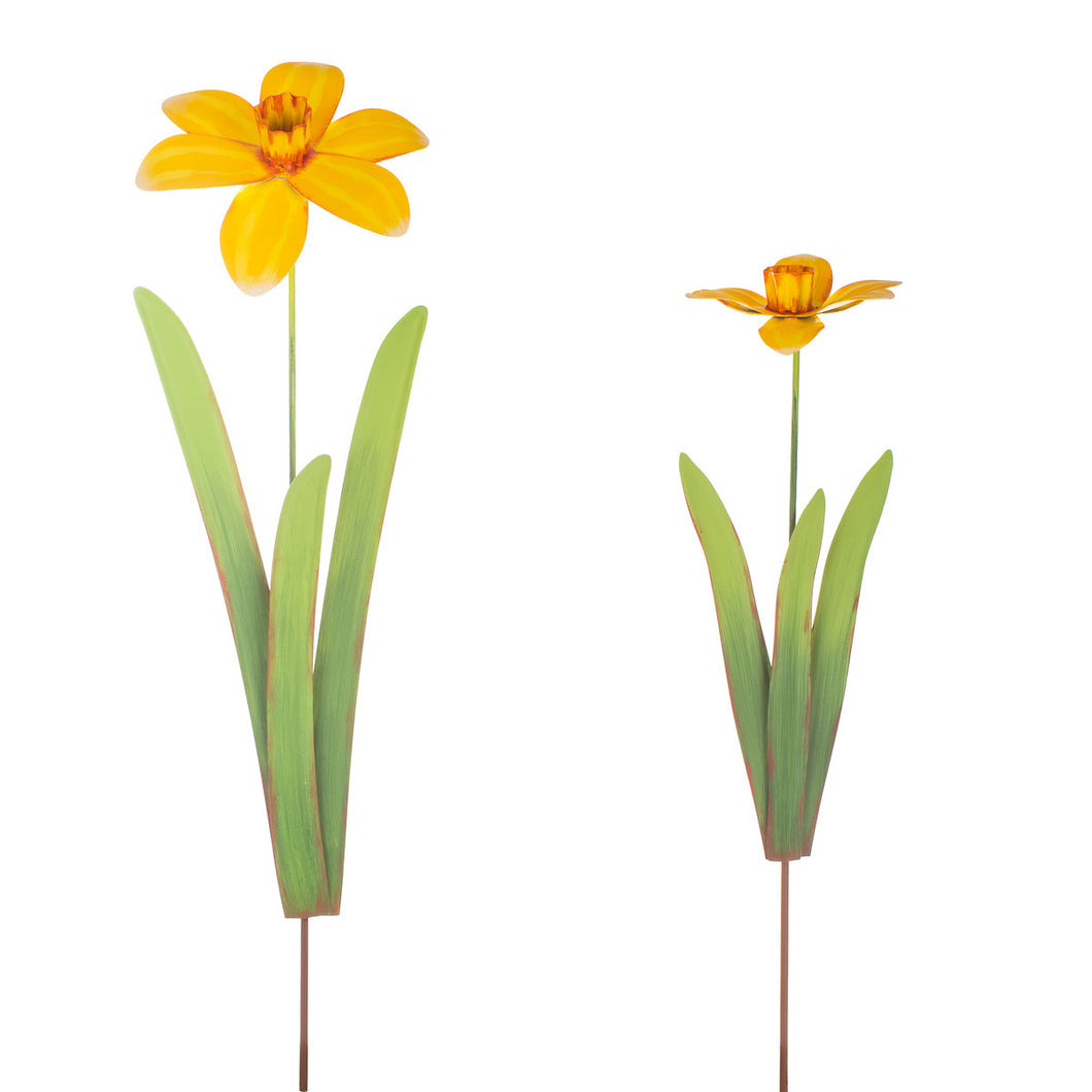 Metal Daffodil Garden Stakes for Garden | 3-D | 2 sizes Tall