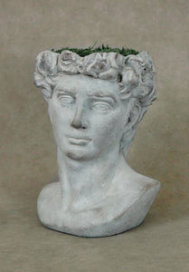 "Large Tall Classic Man Head Planter Garden Art Cement Concrete Statue David Caesar.  11"" tall"