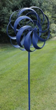 Load image into Gallery viewer, Blue Wind Spinner | Windward | garden art | wind sculpture 7' tall | Kinetic Spinner