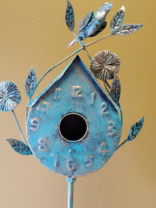 Vintage Copper Birdhouse | Petina | smaller on stand 55""