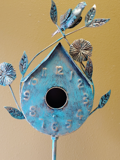 Vintage Copper Birdhouse | Petina | smaller on stand 55