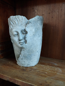 Tall Wrap head Face planter vase - 8 inches tall Concrete