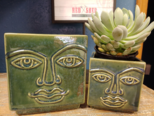 "Load image into Gallery viewer, 2 SQUARE FACE PLANTERS | 4.5"" TALL 
