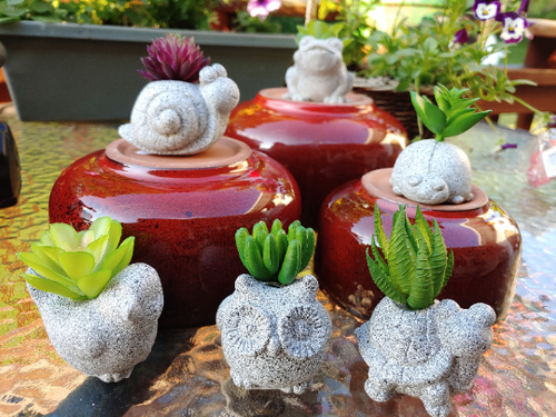 Mini gray faux succulent planters with animals 2