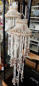 Brownish Spiral 40 inch Vintage Bohemian Canopy Sea Shell Hanging Wind Chime, Shell Mobile