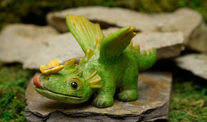 Adorable Dragon with Butterfly on Nose laying down | MG304 Dragon Friends
