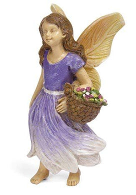 Flower Fairy |Garden Figurine | miniature doll house | purple dress| gathering flowers