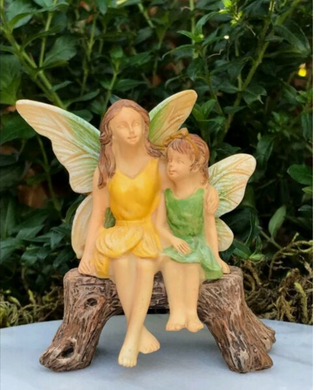 Miniature Fairy Garden Sisters On Bench  | MG306