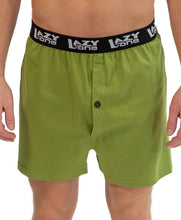 Load image into Gallery viewer, FRONT VIEW OF MAN WEARING UNI-SEX BOXERS (PAJAMA BOTTOMS) | LIME-GREEN WITH BLACK, EXPOSED ELASTIC BAND 'LAZY ONE' | 100% COMBED-COTTON KNIT | HAS DARK GREEN BUTTON FLY. SIZES: M, L, XL.
