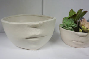 Adorable Ceramic Face Planter Pot 2 sizes | Shallow Succulents
