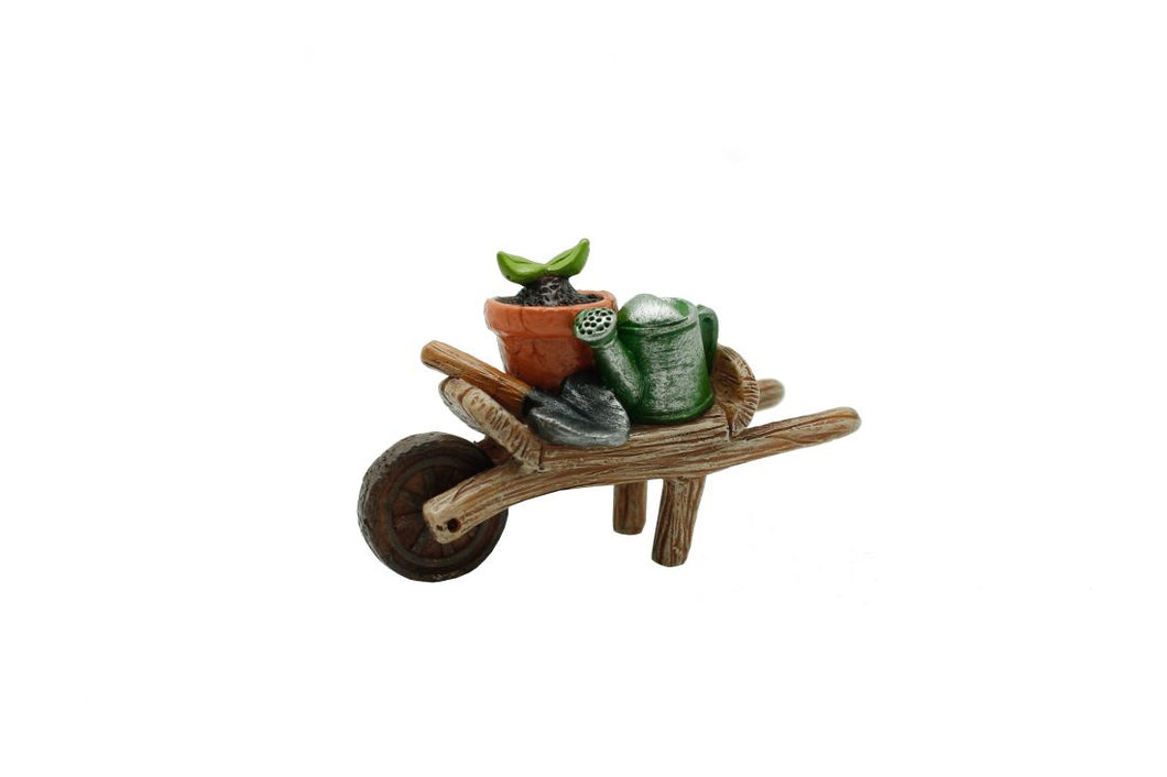 Wheelbarrow carrying your gardening accessories, ready to plant MG395.  - Fairy Garden Supply
