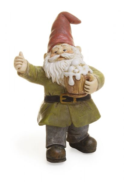 Garden Gnome Holding a Frothy Mug| Fairy Garden Figurines | Miniatures | Collectibles | Cheers | Mug of Beer