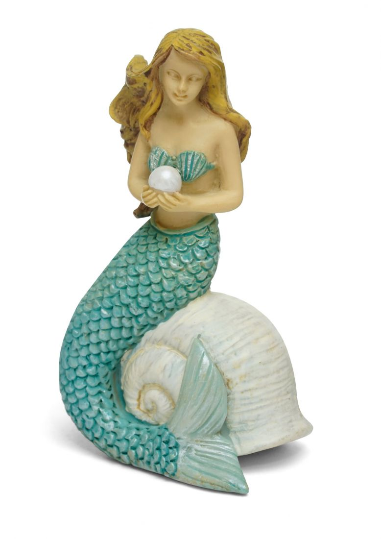 Fairy Garden Fairy | Mermaid holding a pearl | Fairy - Miniature Fairy Garden Supply | Green Mermaid Sitting on Shell
