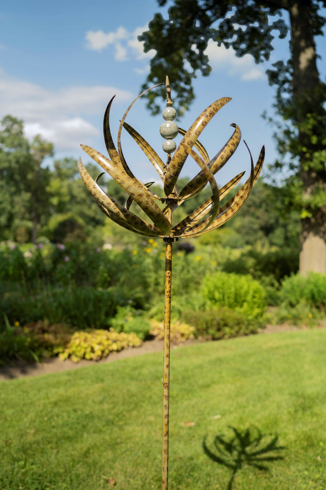 Garden Wind Spinner Spring Reeds | green | garden art | wind sculpture | Best Seller | Kinetic spinner