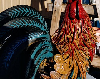 Large Metal Rooster Statue with Teal Tail