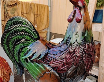 Large Metal Green Tailed Rooster Statue