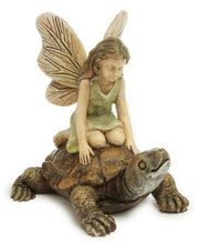Load image into Gallery viewer, Fairy Garden Fairy |  Fairy sitting on a turtle | green dress | turtle racing MG24