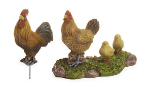Set of 2 pieces  Rooster plus a Hen with chicks | farm accessories | Family of chickens | MG96