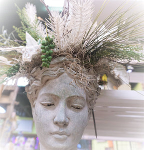 "Wall hanging head planter.   9"" Tall Classic Women"