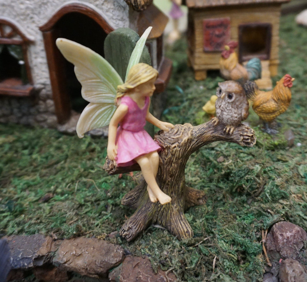 Fairy Garden Fairy |  Owl | Fairy -  Miniature Supply | Sitting fairy getting advise