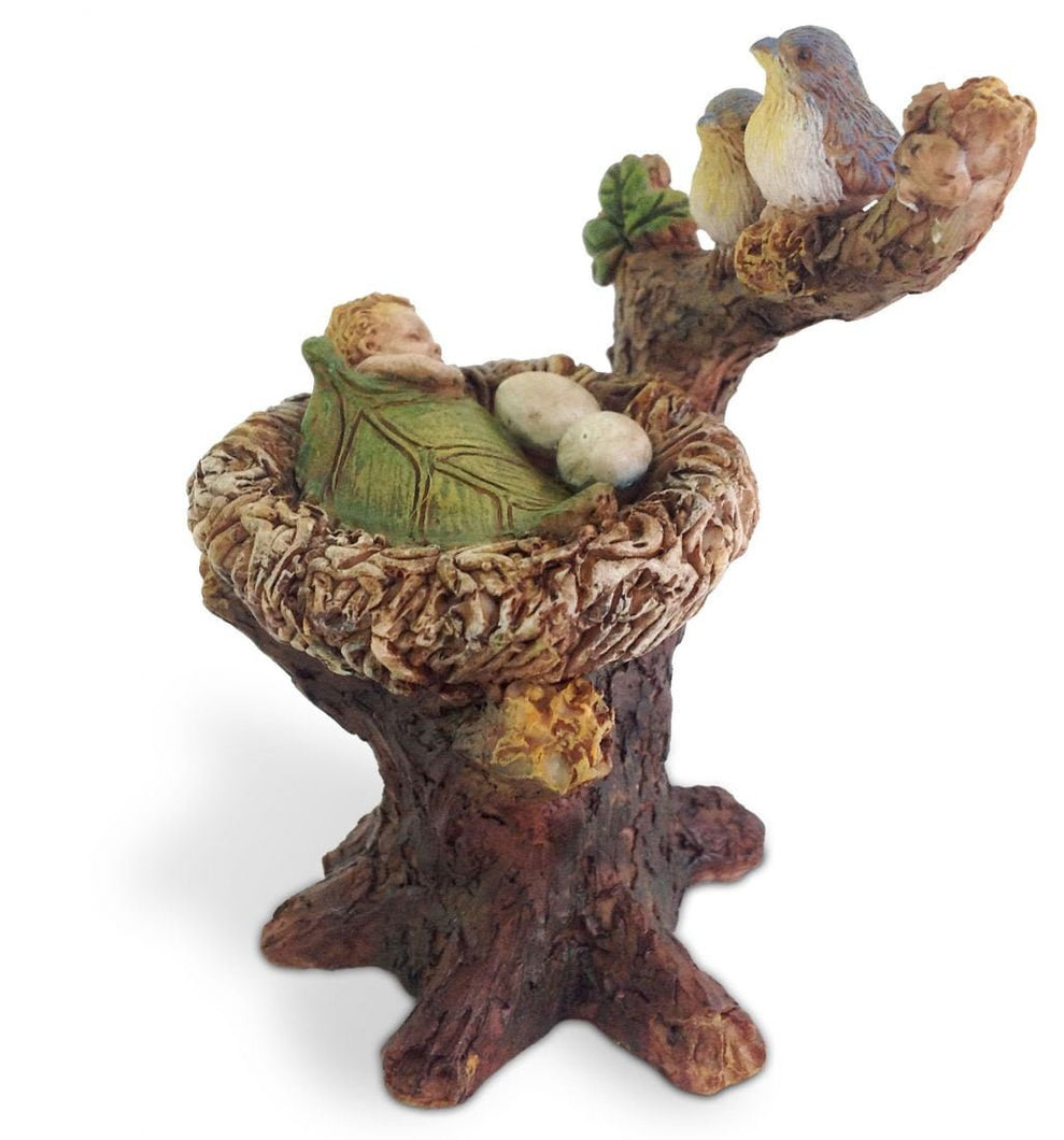Fairy Garden Fairy |  Fairy baby sleeping in bird's nest | Fairy -  Miniature Fairy Garden Supply | bluebirds babysitting | accessories