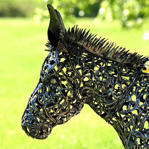 3' Filigree Metal Donkey Planter