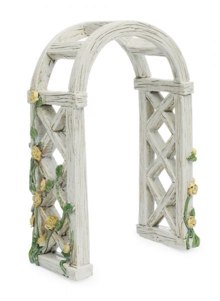 Fairy Garden Fairy |  Enchanted Rose Garden Arbor | Miniature Supply | White Arbor